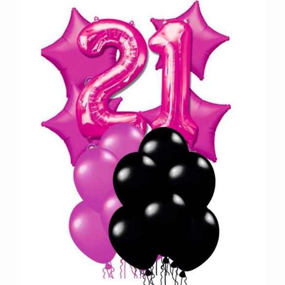 """Сэт """"21 годик черно-розовый""""-shargel.by"""