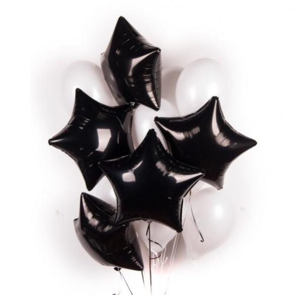 """Сэт """"Белые шары черные звезды""""-shargel.by"""