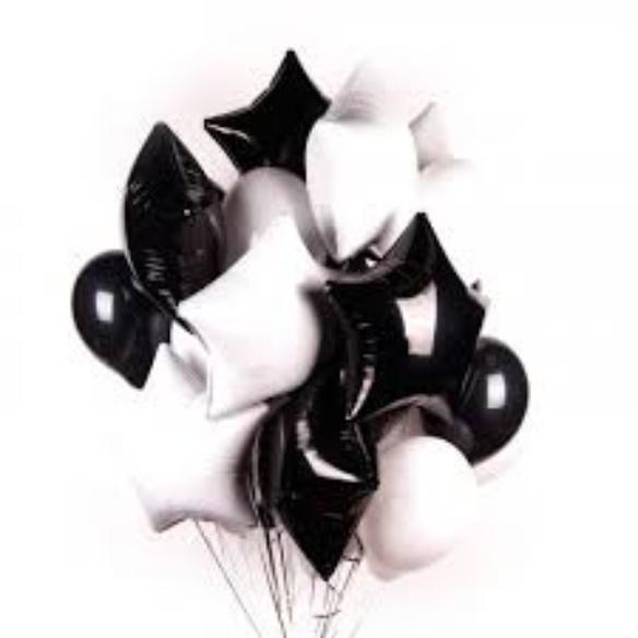 """Сэт """"Черно-белые звезды и шары""""-shargel.by"""