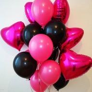 """Сэт """"Сэт розовые сердца и черно розовые шары"""" -shargel.by"""