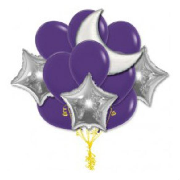 """Сэт """"Фиолетовые шары и серебрянный полумесяц""""-shargel.by"""