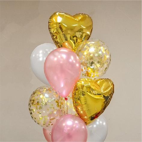"Сэт ""Бело-розовая гамма и золотые сердца""-shargel.by"