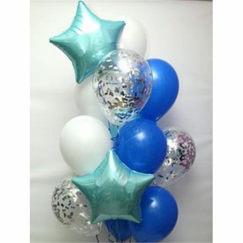 """Сэт """"Бело-синие шары и звезды Тифани""""-shargel.by"""