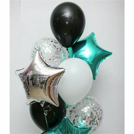 "Сэт ""Черно-белые шары и звезды (серебро и Тифани)""-shargel.by"