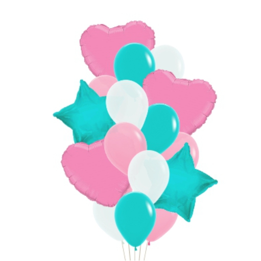 Сэт Мятно-бело-розовая гамма звезды и сердце-shargel.by