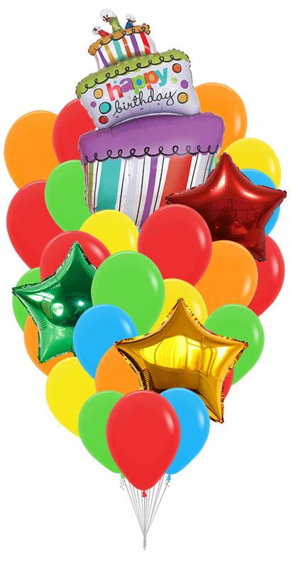 """Сэт """"Полосатый торт, шары и звезды""""-shargel.by"""