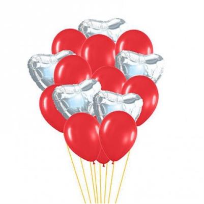 """Сэт """"Красные шары и серебряные сердца""""-shargel.by"""