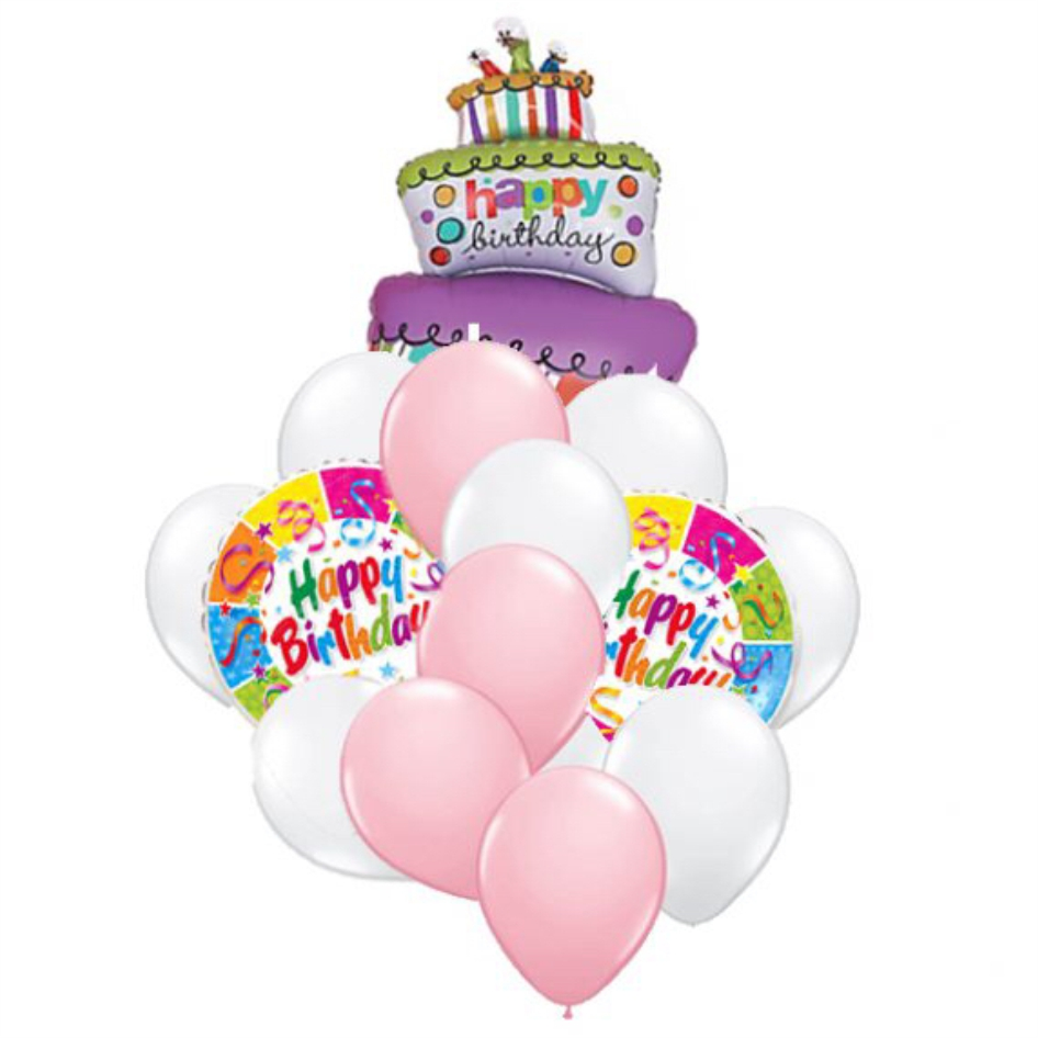 "Сэт ""Полосатый торт,  бело-розовые шары"" shargel.by"