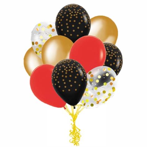 Сэт Красно-черная гамма шары с конфетти shargel.by